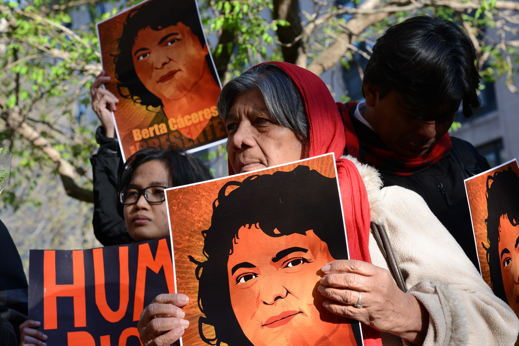 Demonstration commemorating Berta Caceres on 5 April 2016